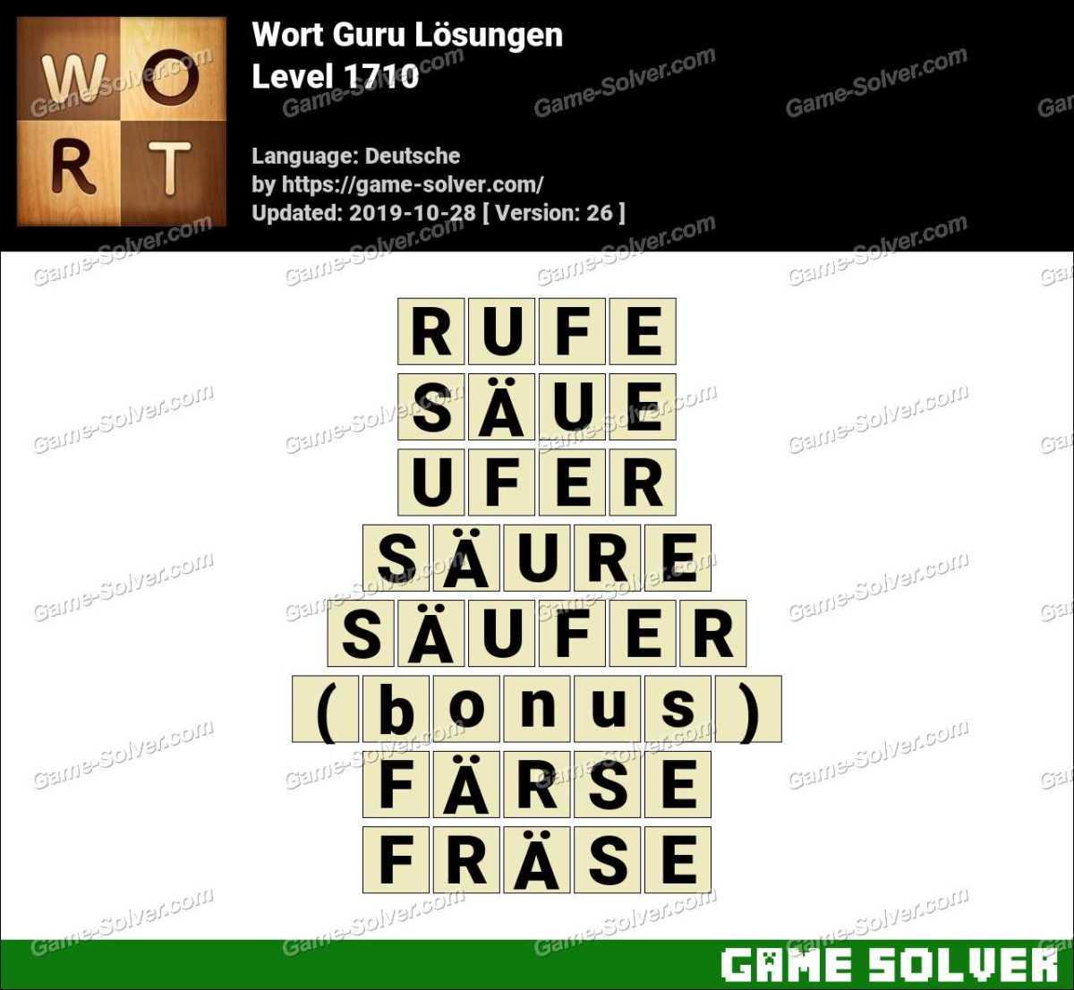 Wort Guru Level 1710 Lösungen