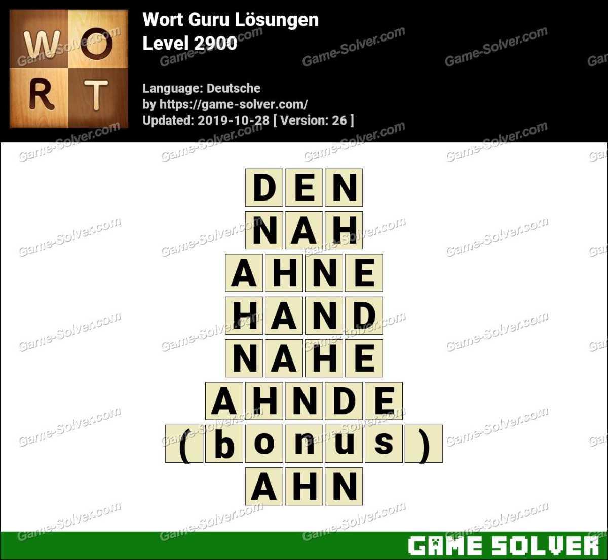 Wort Guru Level 2900 Lösungen
