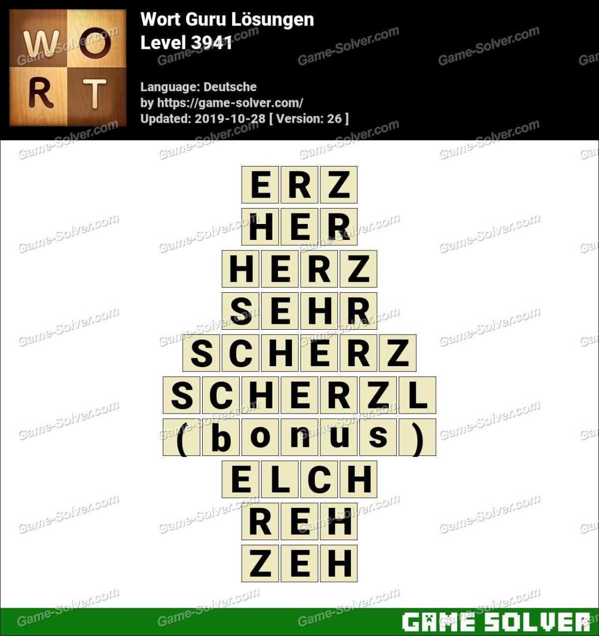 Wort Guru Level 3941 Lösungen