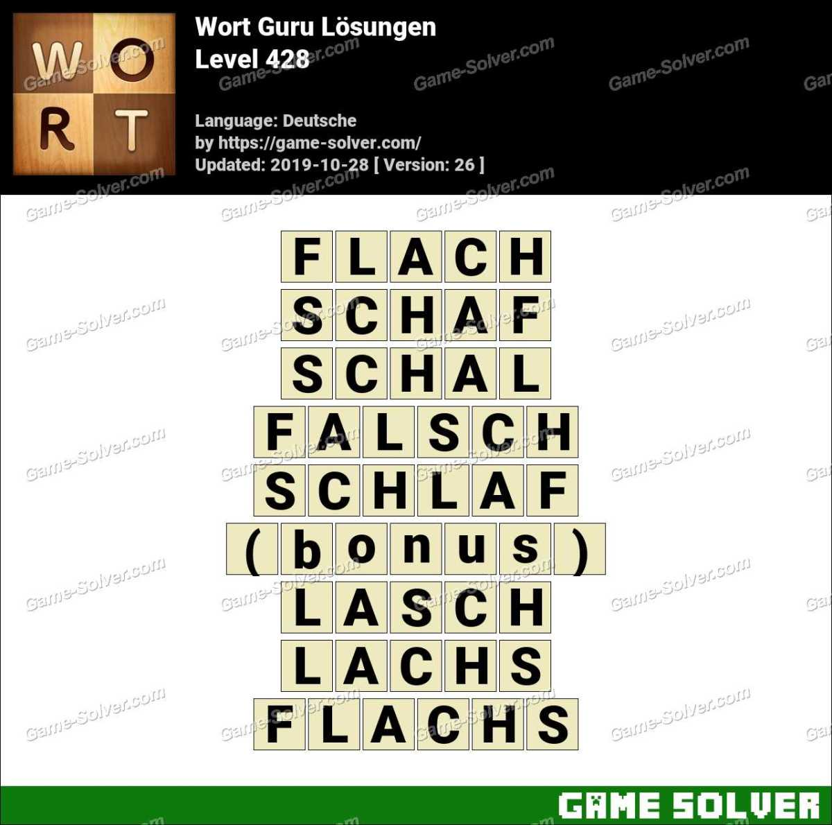 Wort Guru Level 428 Lösungen