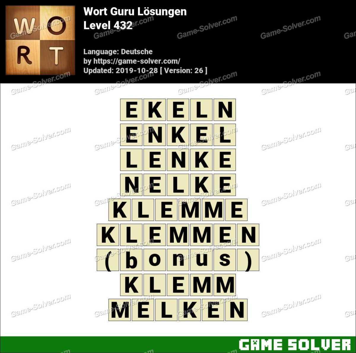 Wort Guru Level 432 Lösungen
