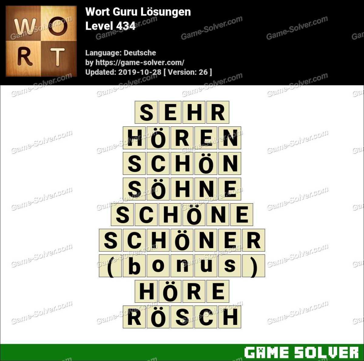 Wort Guru Level 434 Lösungen