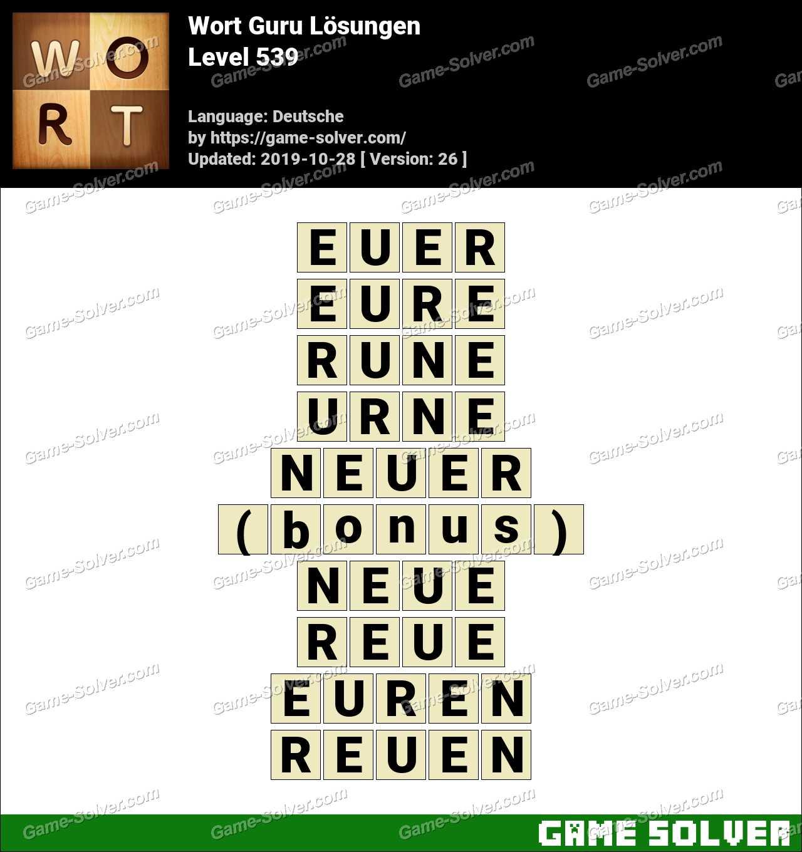 Wort Guru Level 539 Lösungen