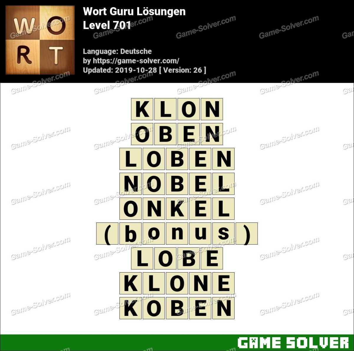 Wort Guru Level 701 Lösungen