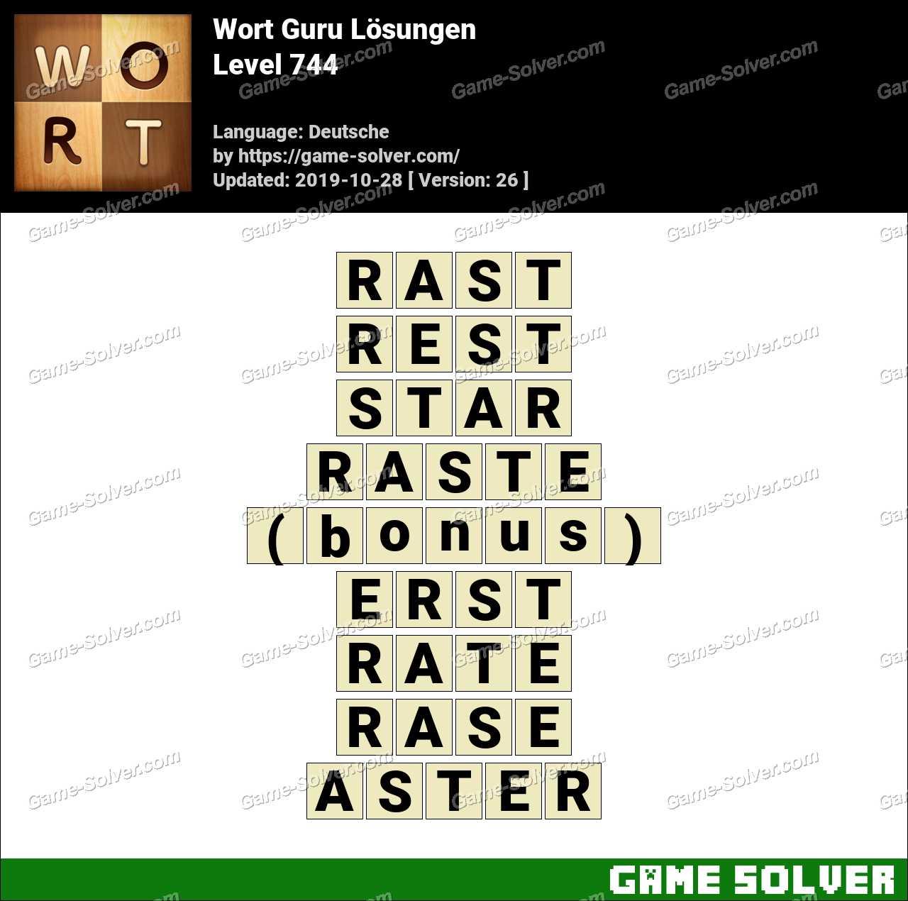 Wort Guru Level 744 Lösungen