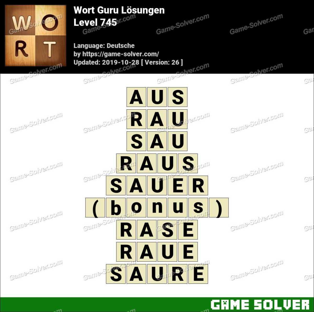 Wort Guru Level 745 Lösungen