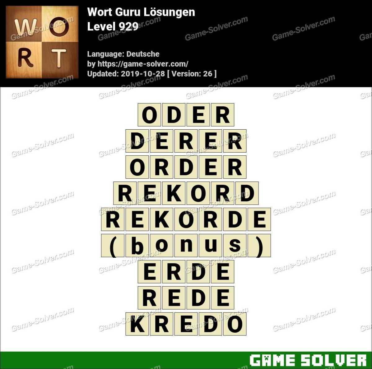 Wort Guru Level 929 Lösungen