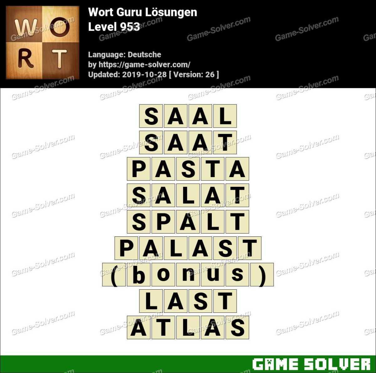Wort Guru Level 953 Lösungen