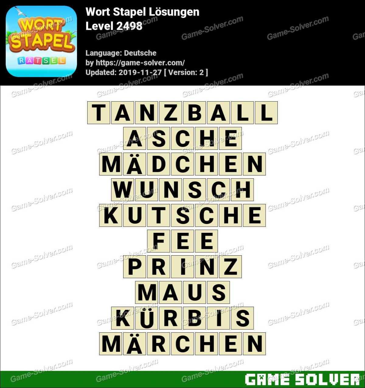 Wort Stapel Level 2498 Lösungen