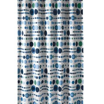 rideau de douche a pois gamma 180x200 cm tissu blanc bleu vert