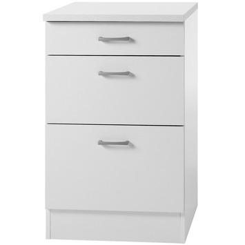 element bas 3 tiroirs optifit klassik60 84 5x50x60cm avec plan de travail