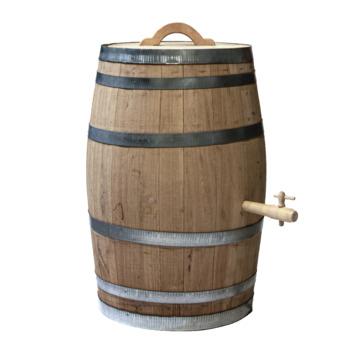 tonneau de pluie en bois marron 150 litres avec poignee et robinet