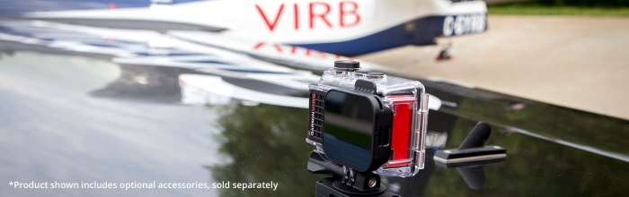 VIRB Ultra 30 mounted on top of an airplane wing. Product shown includes optional accessories, sold separately.