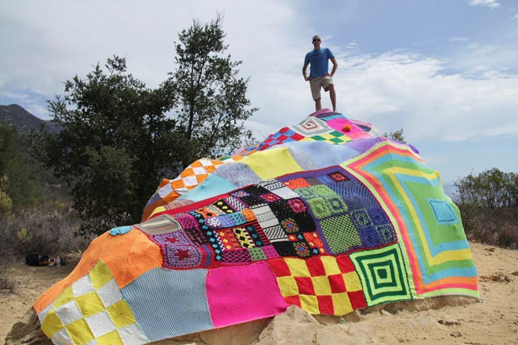 Steve on Saddle Rock Yarnbomb, Courtesy of Jack Rogan