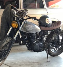 rent the motorcycle transportation 1972 honda scrambler awesome distressed look for filming [ 1200 x 1600 Pixel ]