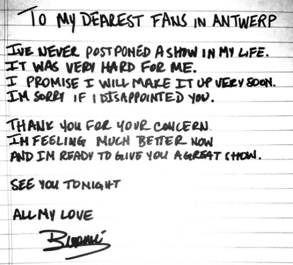 Beyonce handwrites apology to fans over Belgium show