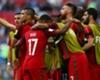 Portugal celebrate before Nani's goal is ruled out