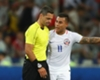Eduardo Vargas appeals to the referee after Chile's opener against Cameroon was disallowed