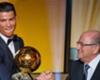 Cristiano Ronaldo (L) and Sepp Blatter (R)