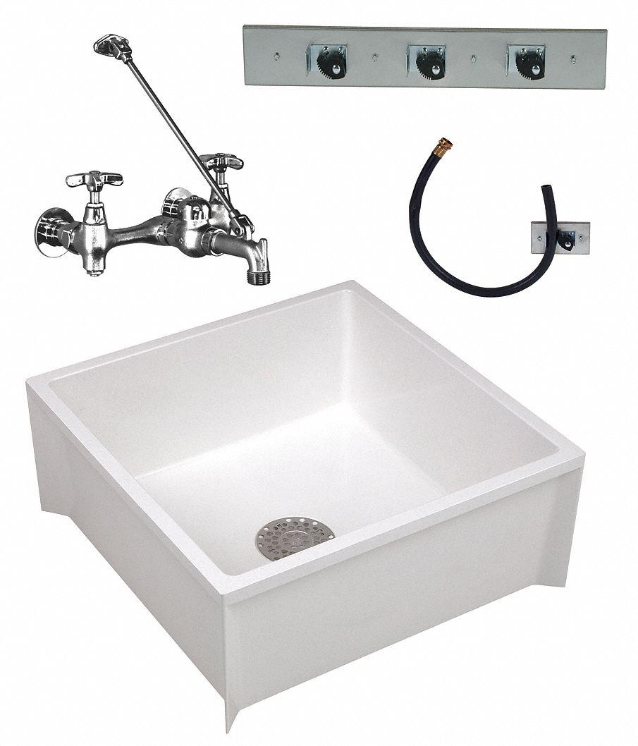 MUSTEE 24 x 24 x 10 White Mop Sink Kit 10 Bowl Depth