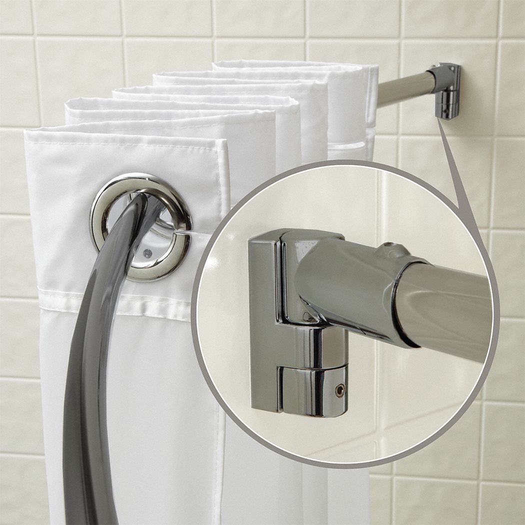 WINGITS 57 34L X 1 X 34D Satin Curved Shower Rod Includes Pivot Brackets And Hardware