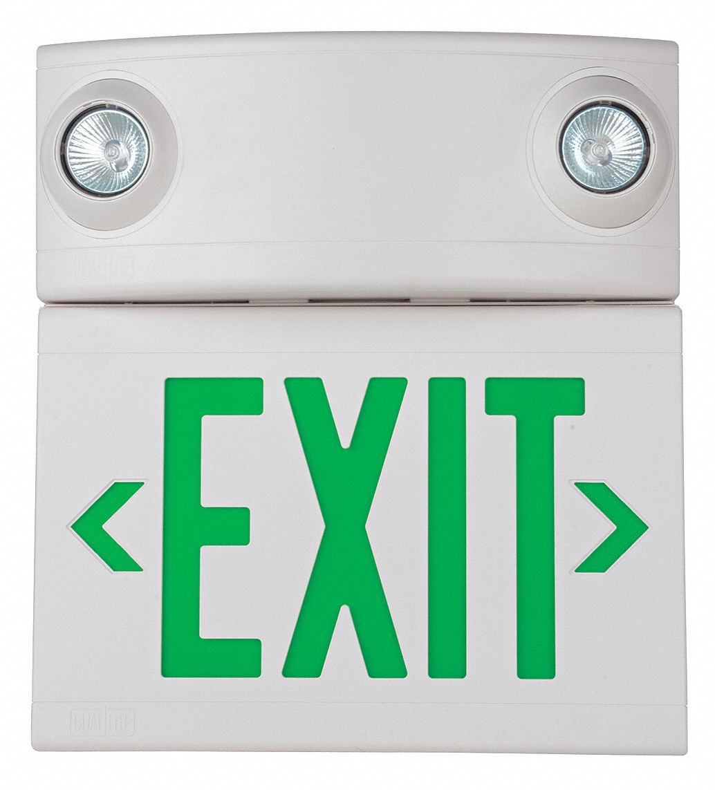 number of faces 1 or 2 led exit sign with emergency lights white plastic