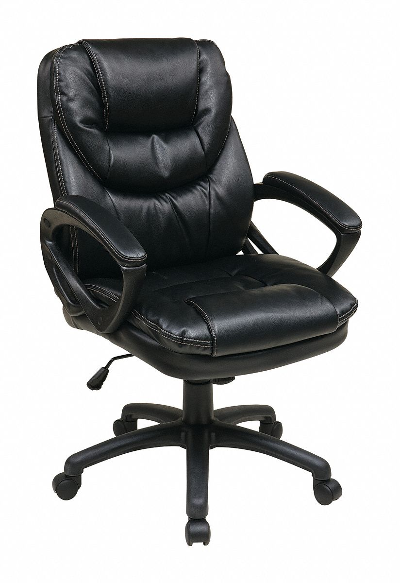 black leather desk chairs high back velvet chair uk office star faux 22 3 4 height 19tx67 fl660 u6 grainger