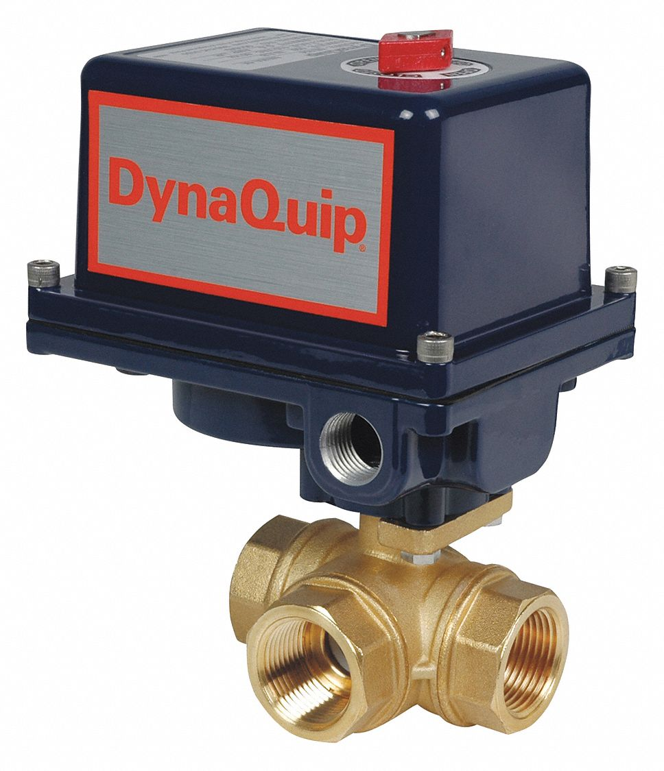 DYNAQUIP CONTROLS Brass Electronic Actuated Ball Valve 1 12 Pipe Size 12 24VACVDC Voltage