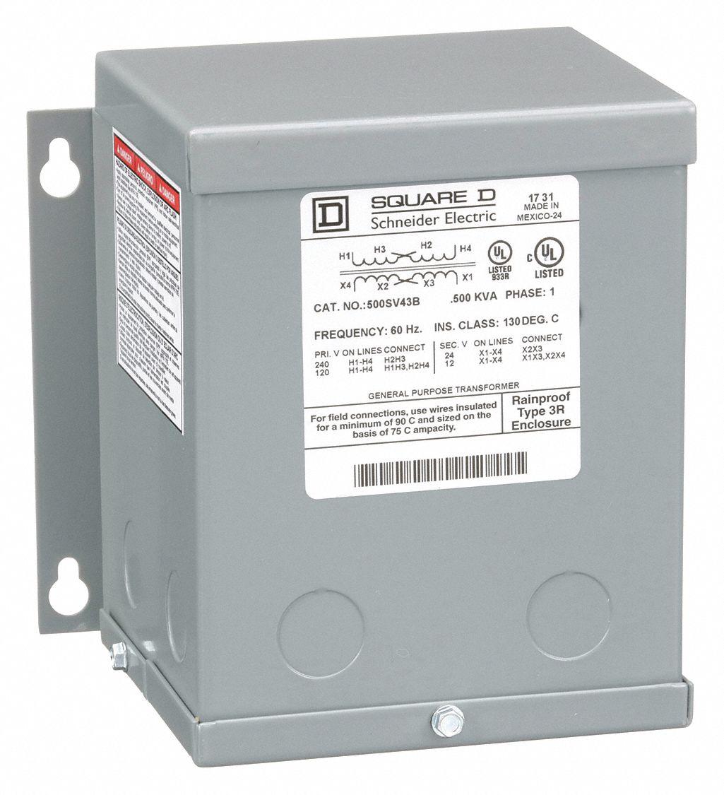 hight resolution of square d 500va buck boost transformer input voltage 120vac 240vac output voltage 12vac 24vac 1h275 500sv43b grainger