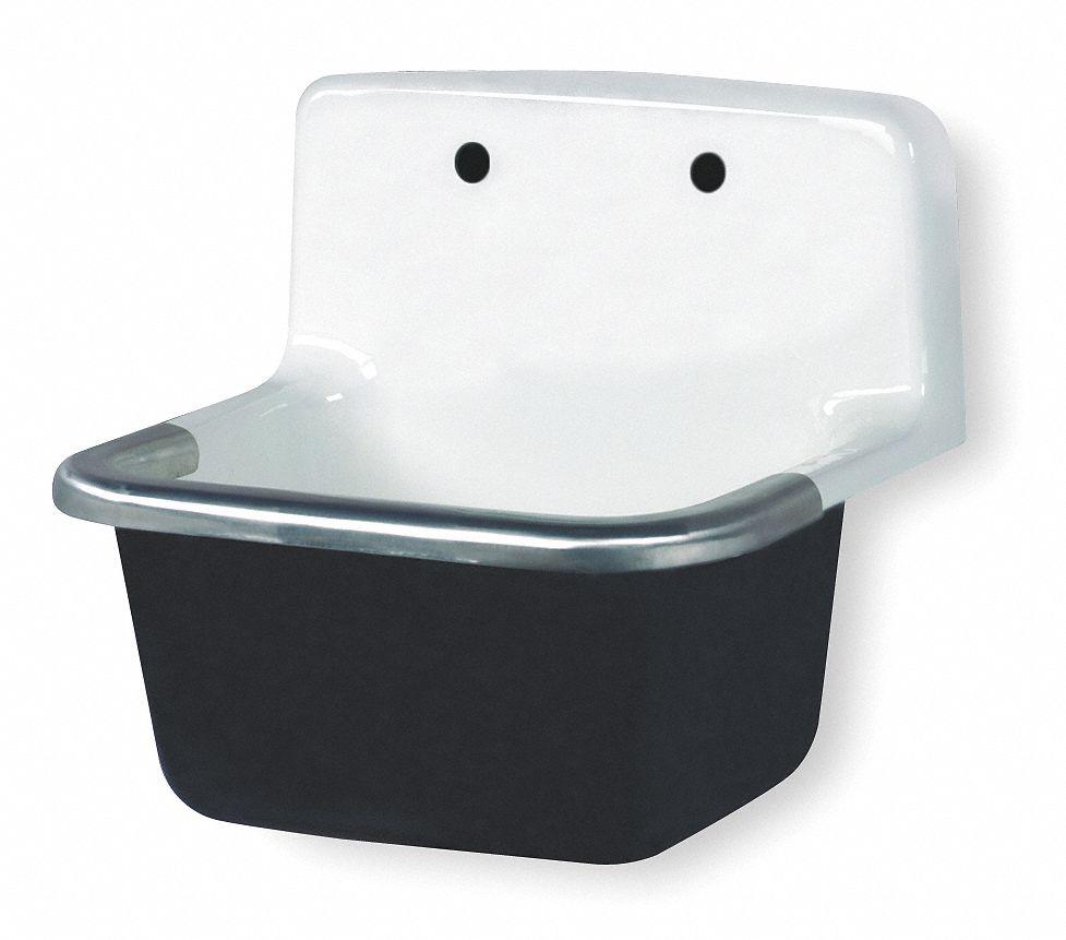 wall mount utility sink 1 bowl white 18 inl x 22 inw x 20 1 4 inh