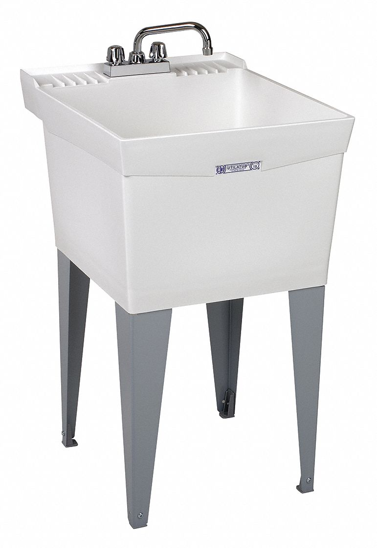 utility sink polypropylene 24 in overall length 20 in overall width 13 in bowl depth