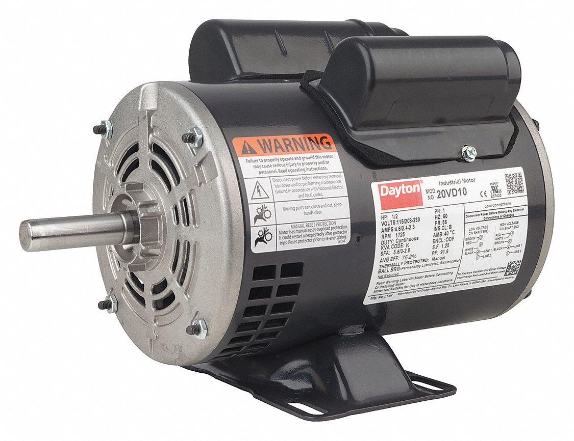 hight resolution of dayton 3 4 hp general purpose motor capacitor start run 1725 nameplate rpm voltage 115 208 230 frame 56 31tr72 31tr72 grainger