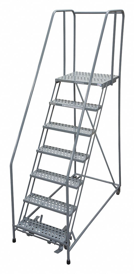 COTTERMAN 7-Step Rolling Ladder, Perforated Step Tread