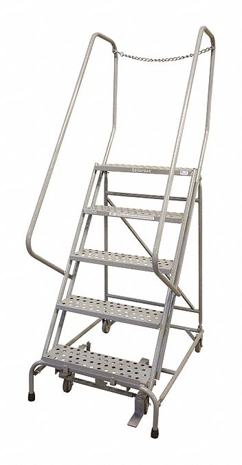 COTTERMAN 5-Step Rolling Ladder, Perforated Step Tread, 80