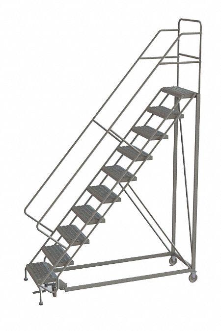 TRI-ARC 10-Step Rolling Ladder, Perforated Step Tread, 136
