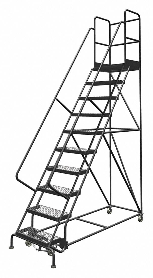 TRI-ARC 10-Step Rolling Ladder, Serrated Step Tread, 136