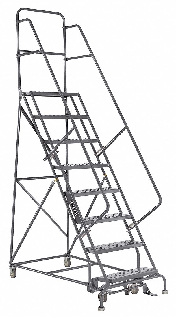 LOUISVILLE 8-Step Rolling Ladder, Perforated Step Tread