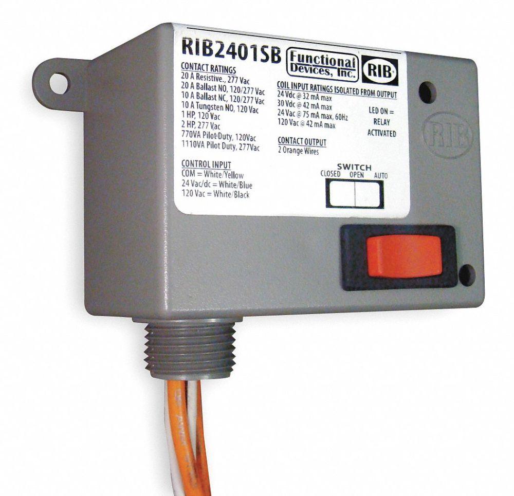 medium resolution of functional devices inc rib prewired relay 24vac dc 120vac 20a 277v spst no 2eta7 rib2401sb grainger