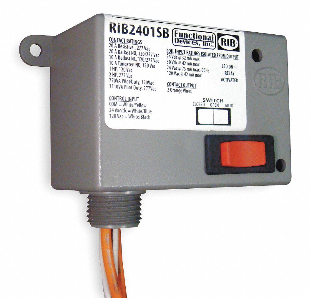 hight resolution of functional devices inc rib prewired relay 24vac dc 120vac 20a 277v spst no 2eta7 rib2401sb grainger