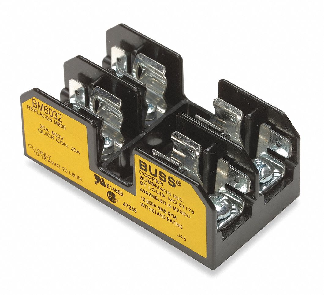 hight resolution of eaton bussmann 2 pole industrial fuse block ac 600vac dc not rated 0 to 30a series ktk fnm fnq baf ban a 2gvz5 bm6032sq grainger