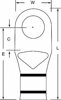 3M 2/0 One-Hole Lug Compression Connector, Straight Barrel
