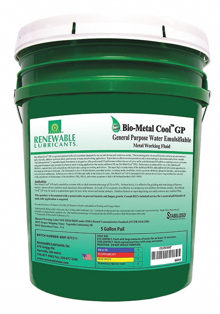 Water Soluble Oil : water, soluble, RENEWABLE, LUBRICANTS, Water, Soluble, Cutting, Concentrate, Coolant,, Container, Bucket,, Yellow, 2VXN7|86804, Grainger