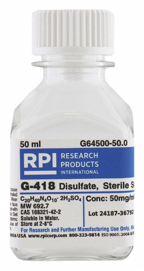 50 Ml To G : G-418, Disulfate,, Solution,, Liquid, 30TY30 G64500-50.0, Grainger
