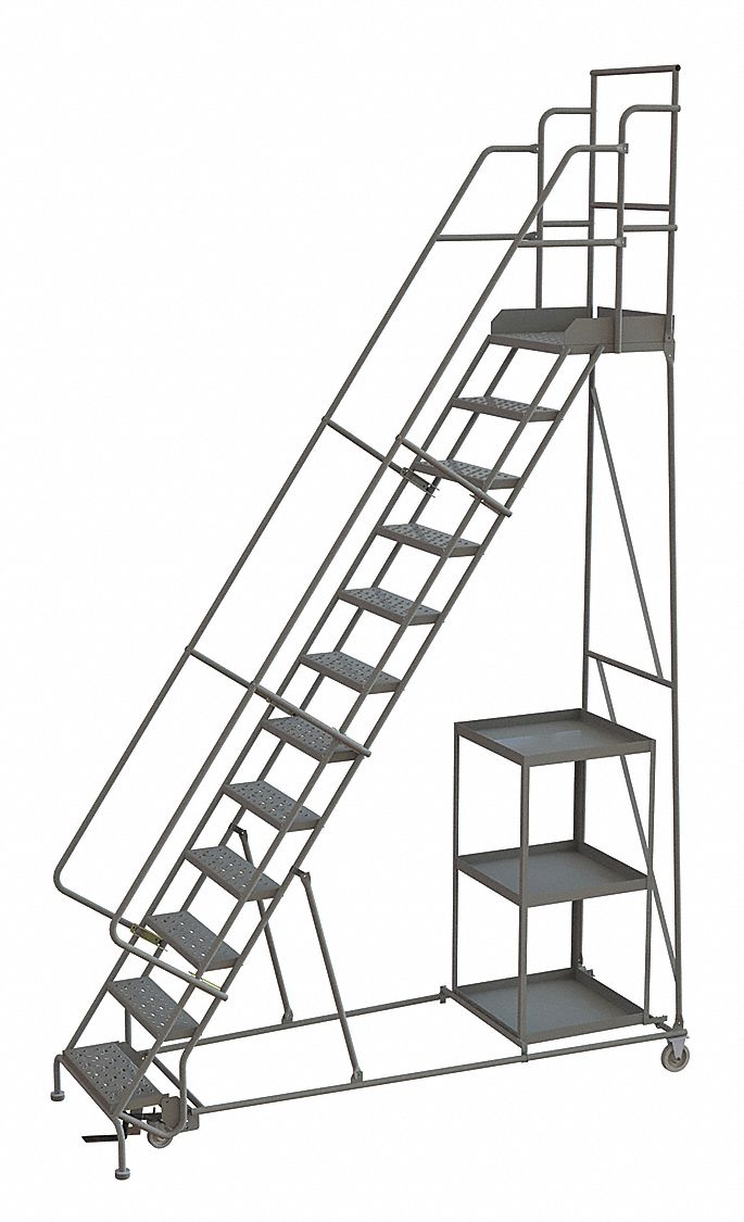 TRI-ARC 12-Step Stock Picking Rolling Ladder, Perforated
