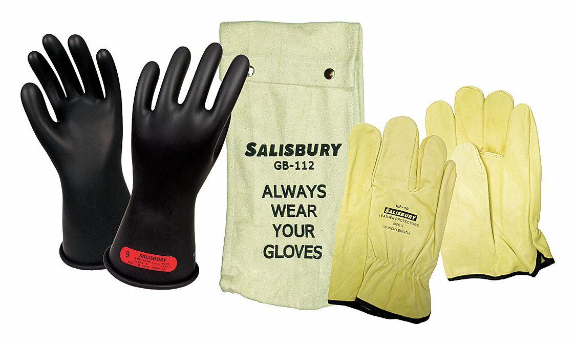 SALISBURY Black Electrical Glove Kit Natural Rubber 0
