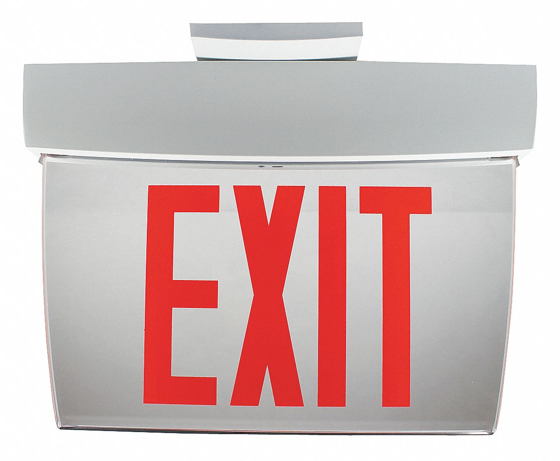 PHILIPS CHLORIDE 1 Face LED Exit Sign, White Aluminum Housing, Red Letter Color  34TE84