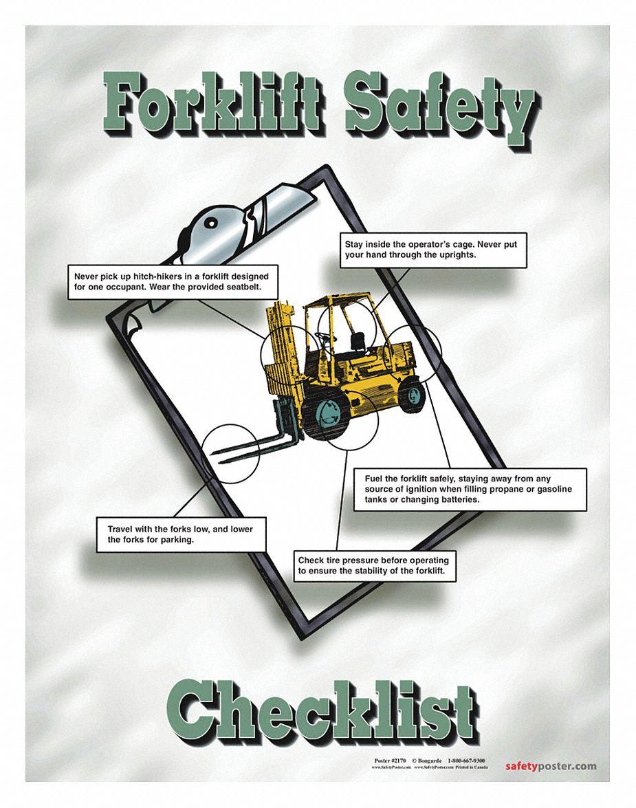 safety poster safety banner legend forklift safety checklist 22 in x 17 in english