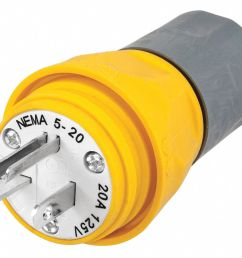 hubbell wiring device kellems 20a industrial grade watertight straight blade plug yellow nema configuration 5 20p 39aw16 hbl14w33a grainger [ 1125 x 928 Pixel ]