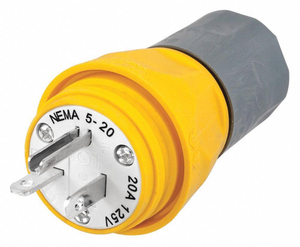 medium resolution of hubbell wiring device kellems 20a industrial grade watertight straight blade plug yellow nema configuration 5 20p 39aw16 hbl14w33a grainger