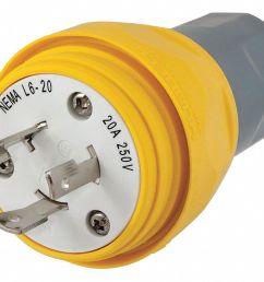 hubbell wiring device kellems 20a industrial grade non shrouded watertight locking plug yellow nema configuration l6 20p 39aw33 hbl26w48 grainger [ 1125 x 893 Pixel ]